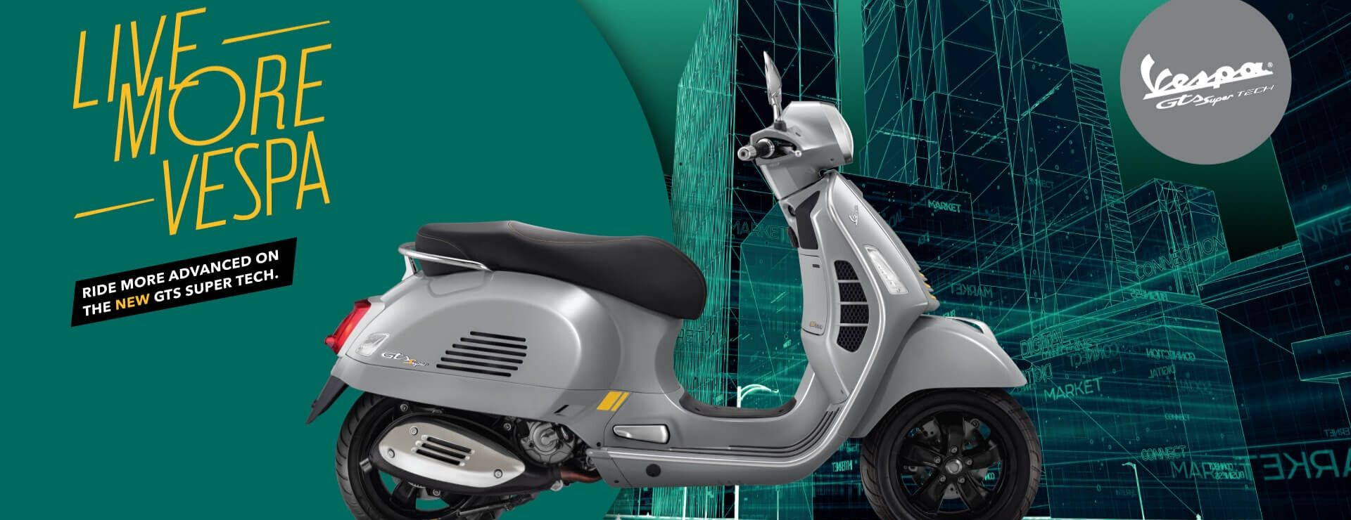 Live more Vespa! Maximum sportiness and super technology, this sits at the very top of the Vespa GTS Super range.