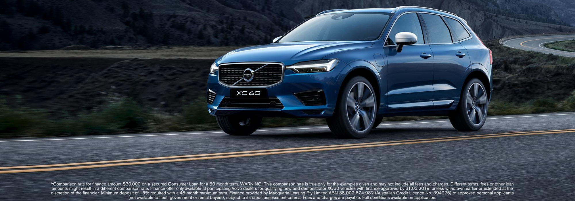 XC60 with 1.9% p.a. comparison rate^ finance. Minimum 15% deposit required. Offer must end March 31.