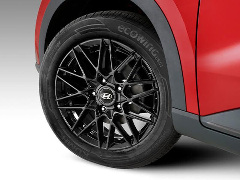 "<img src=""15"" Wonju gloss black alloy wheel."