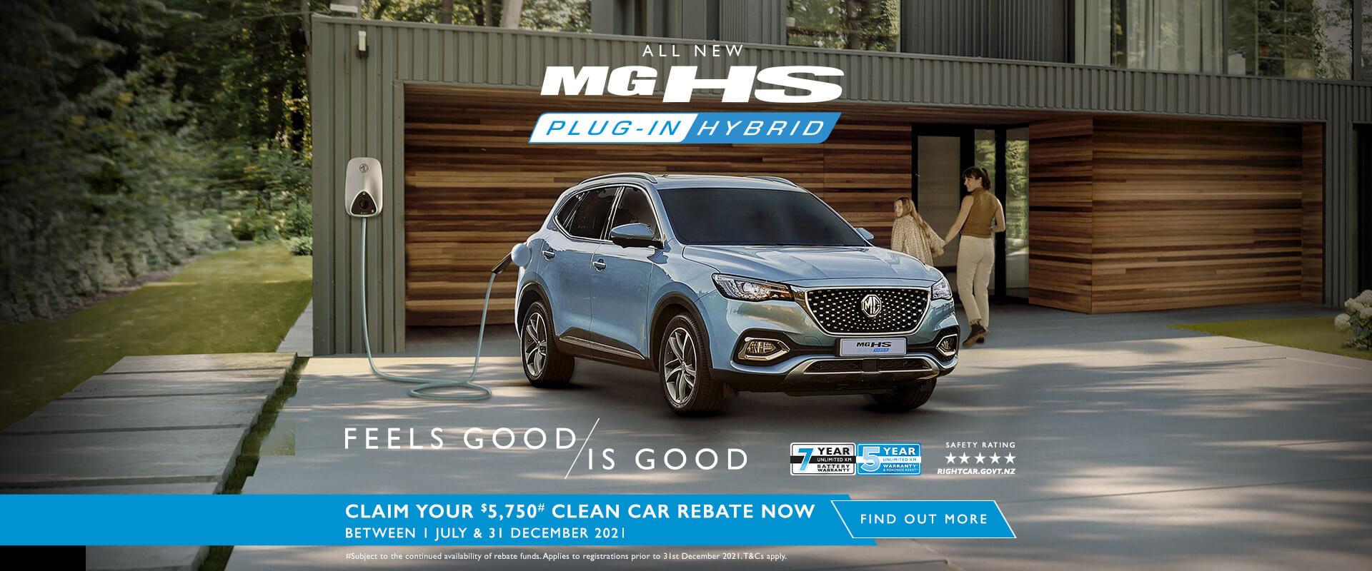 MG HS Plug-In Hybrid. Claim your $5,750# Clean Car Rebate now*