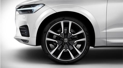 """Complete wheels, 22"""" 5-Double Spoke Matt Black Diamond Cut - C008"""