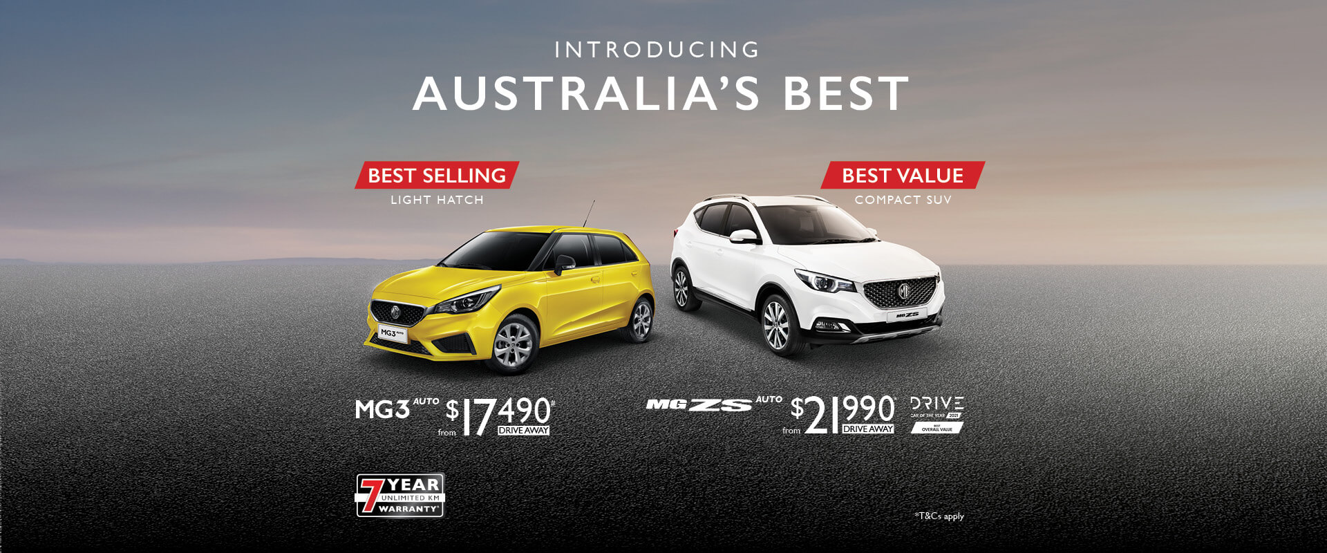 Introducing Australia's Best. MG3 Auto and MG ZS Auto