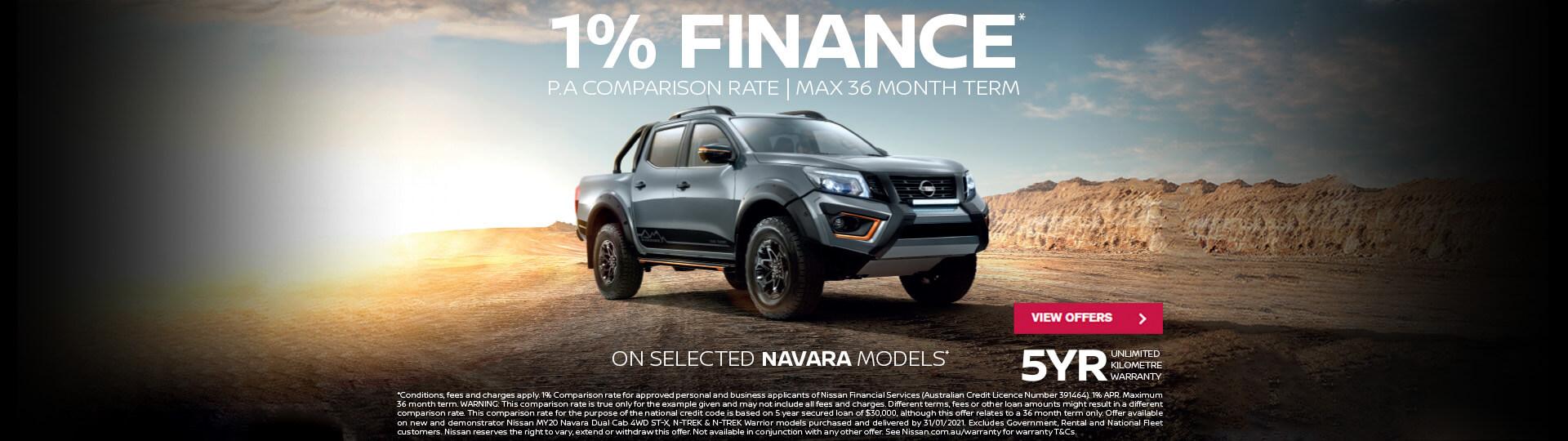 1% Finance available on selected Nissan Navara models