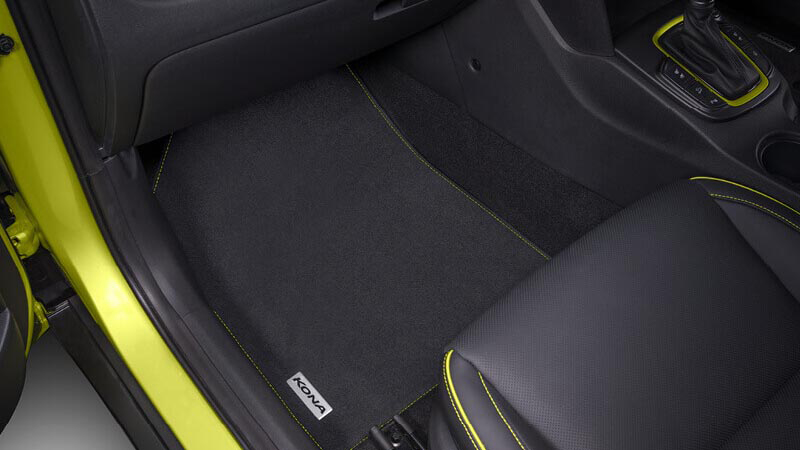 Tailored carpet floor mats (set of 4) - yellow stitching.
