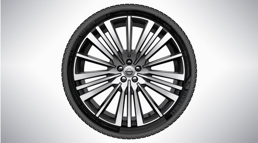 "Complete wheel, 22"" 20-Spoke Black Diamond Cut Alloy Wheel"