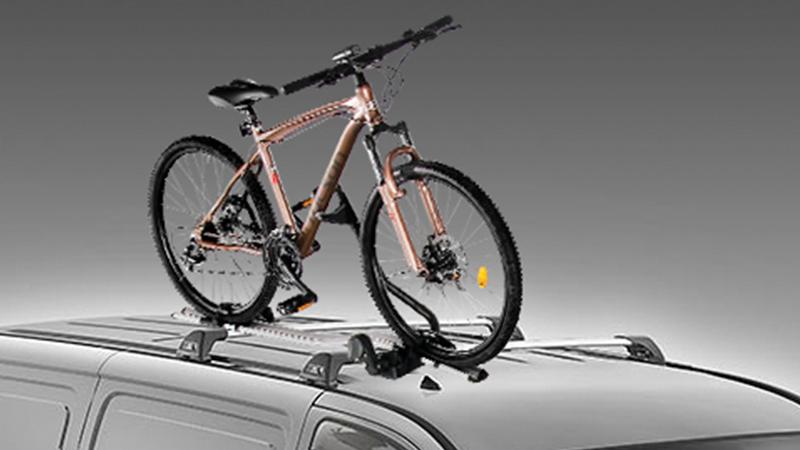 "<img src=""Thule bike carrier (wheel on)."
