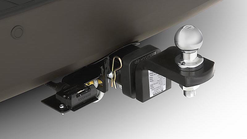 "<img src=""Towbar, towball and trailer wiring harness."