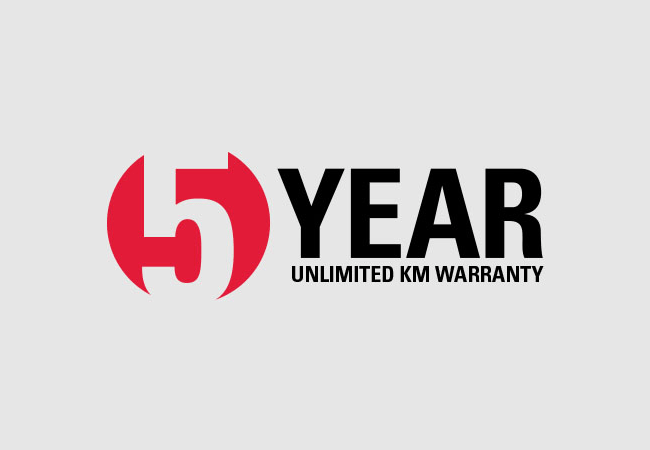 5-YEAR UNLIMITED KM WARRANTY