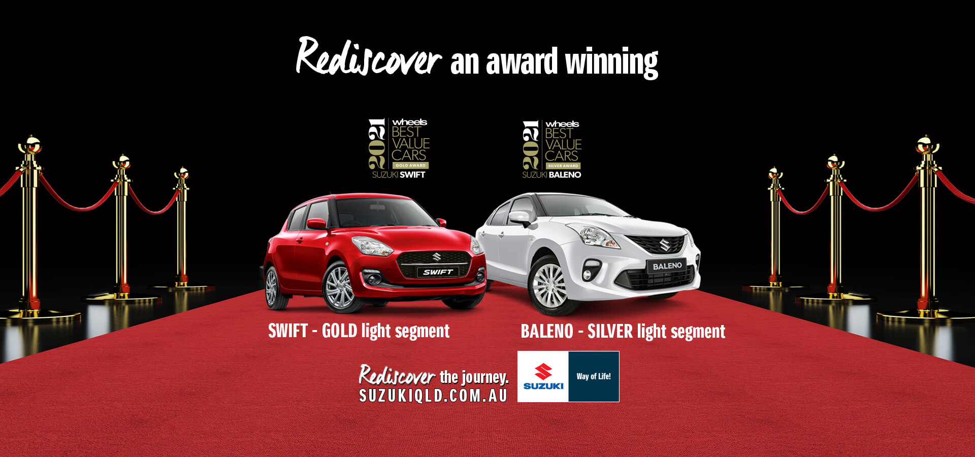 Rediscover the award winning Swift and Baleno