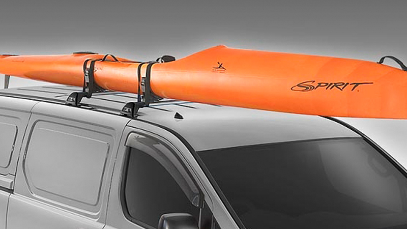Roof mounted kayak holder.