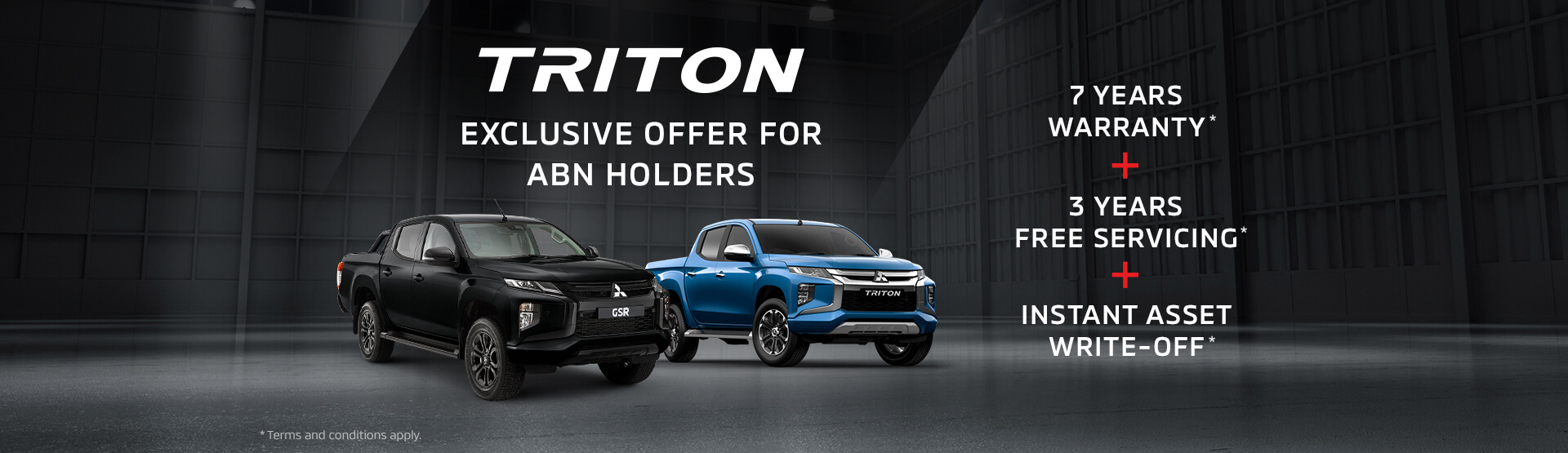 Exclusive offers to ABN Holders across the Mitsubishi Triton range. Book a test drive today.