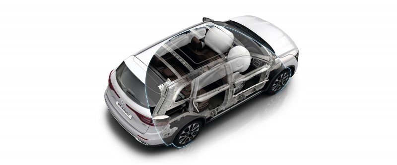 Koleos Front, lateral and curtain airbags