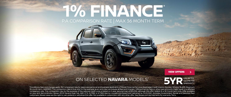 1% Finance available on selected Navara models