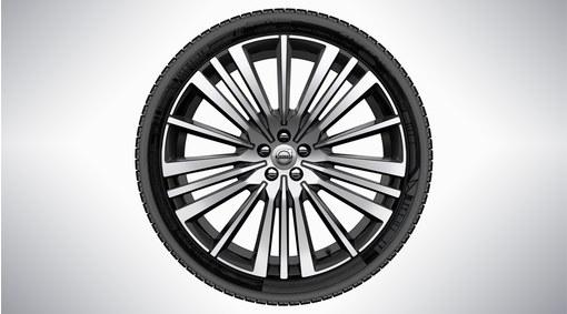 """Complete wheel, 22"""" 20-Spoke Black Diamond Cut Alloy Wheel"""