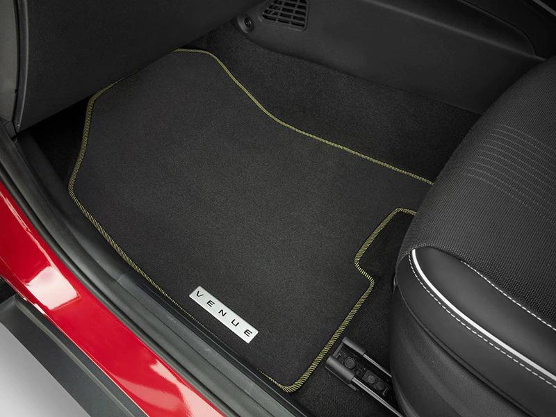 "<img src=""Tailored carpet floor mats (set of 4) - yellow edging"