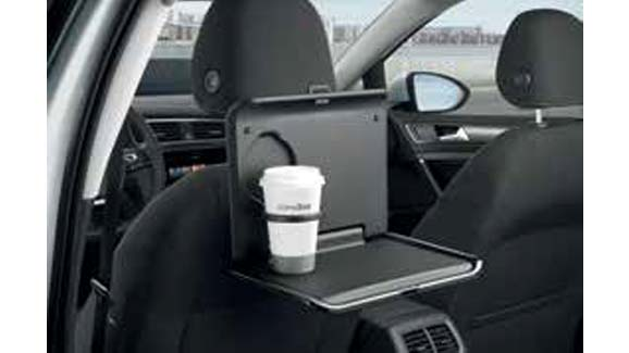 Folding tray with cup holder