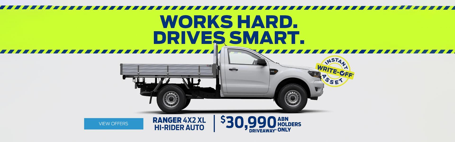 Works Hard. Drives Smart. Ranger 4x2 XL Hi-Rider Auto