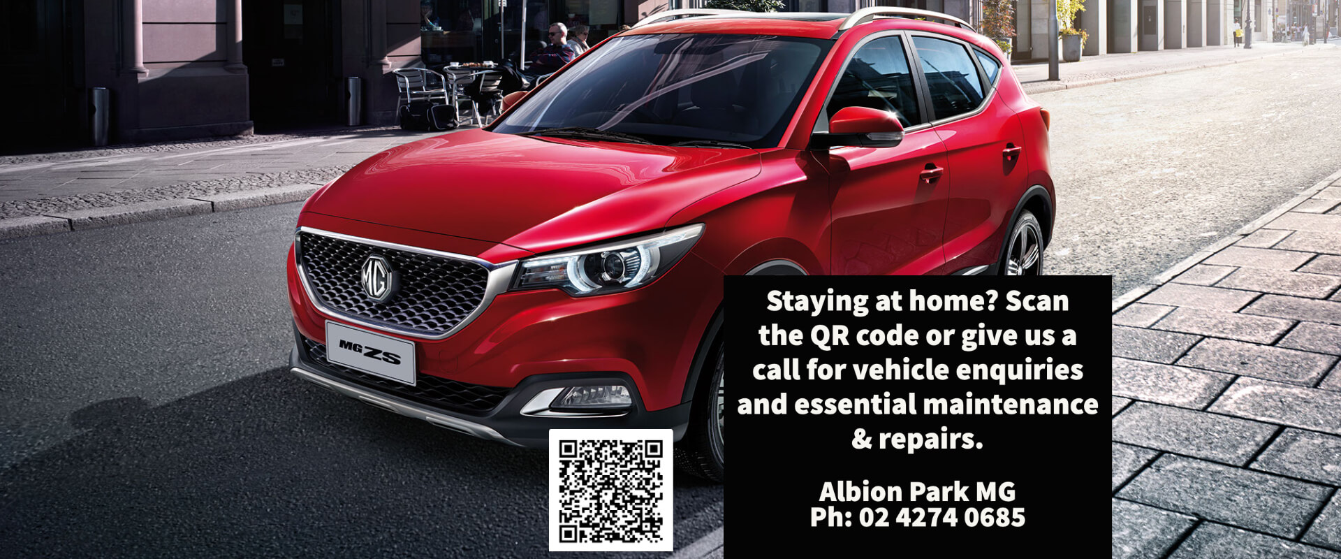 Staying at home? Give us a call or scan the QR code for vehicle enquiries and essential maintenance and repairs.
