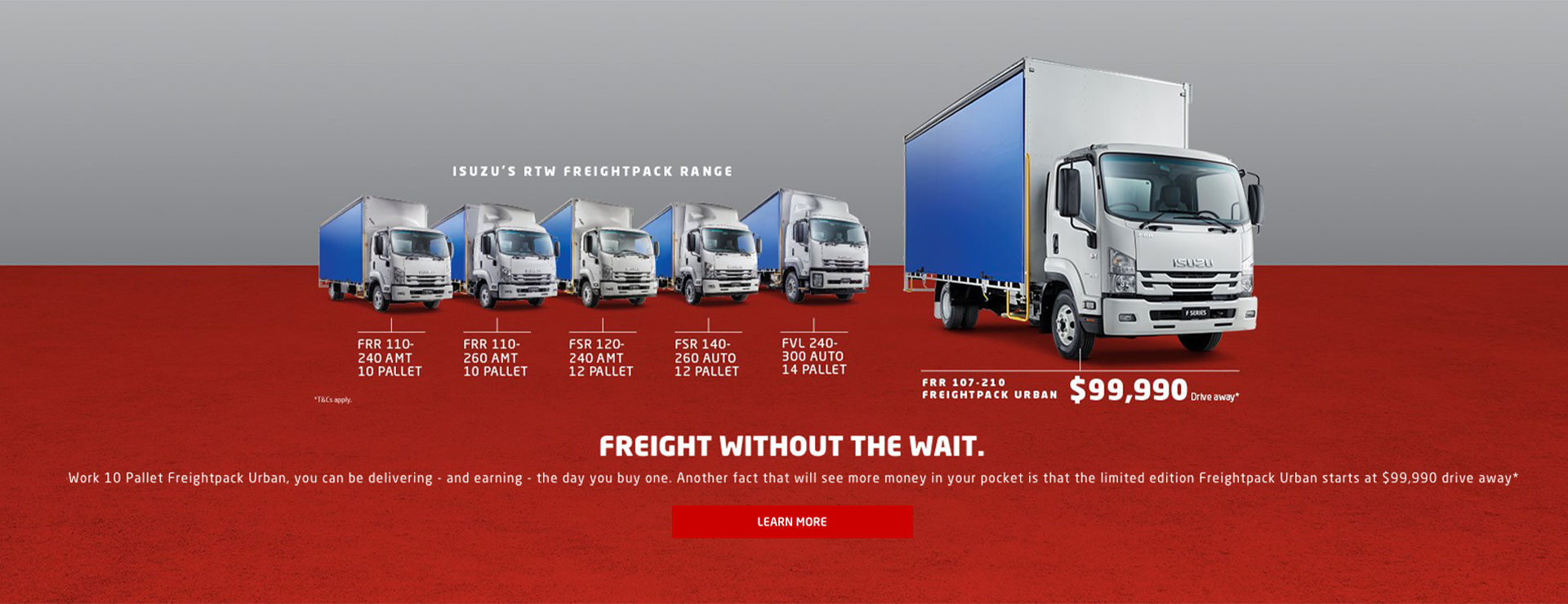 FREIGHT WITHOUT THE WAIT. With Isuzu's Ready-to-Work 10 Pallet Freightpack Urban, you can be delivering - and earning - the day you buy one. Another fact that will see more money in your pocket is that the limited edition Freightpack Urban starts at $99,9