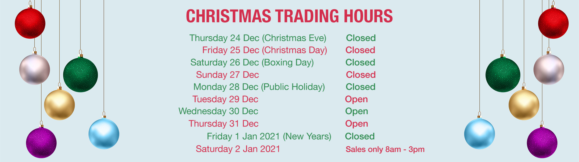 Geoff King Motors Christmas Trading Hours 2020
