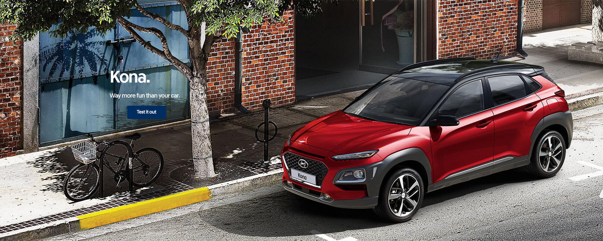 Hyundai Kona. Way more fun than your car. Book a test drive today.
