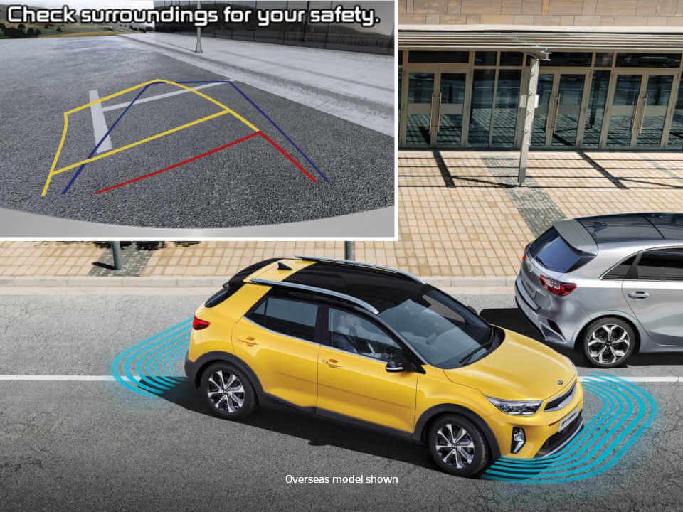 Rear view camera and rear parking sensors