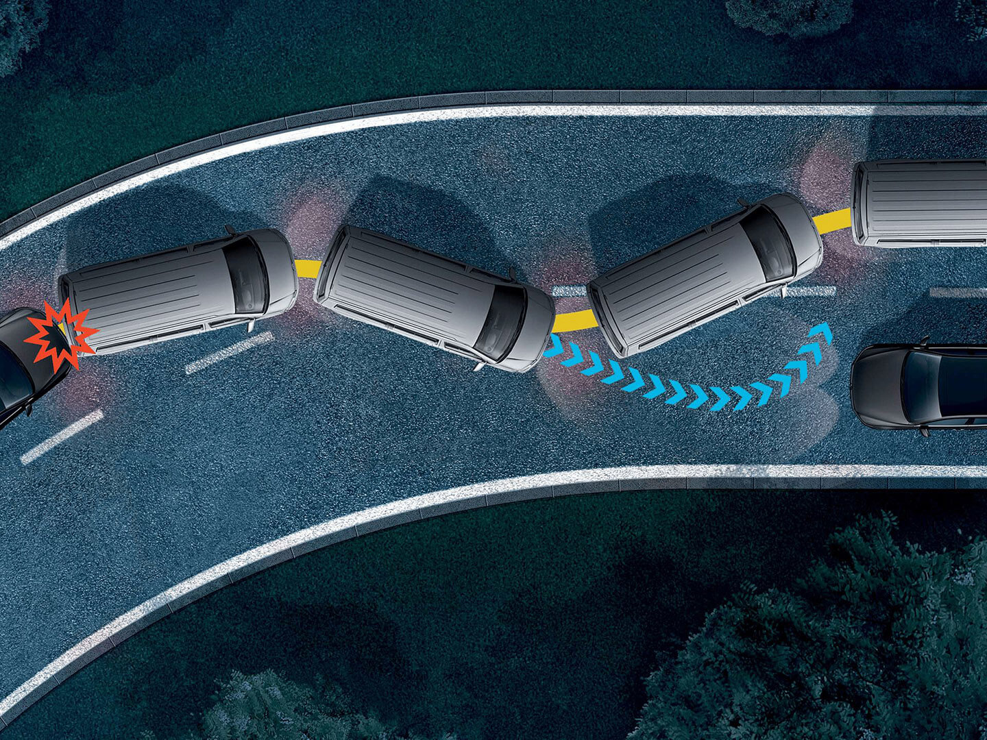 Thinking ahead of accidents  Multi-Collision Brake Image