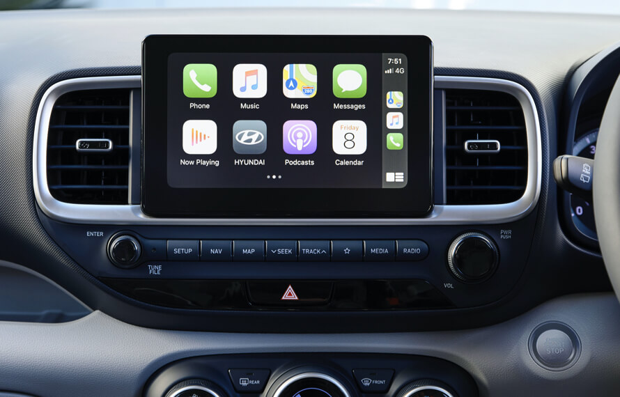 Venue Apple CarPlay and Android Auto compatibility.