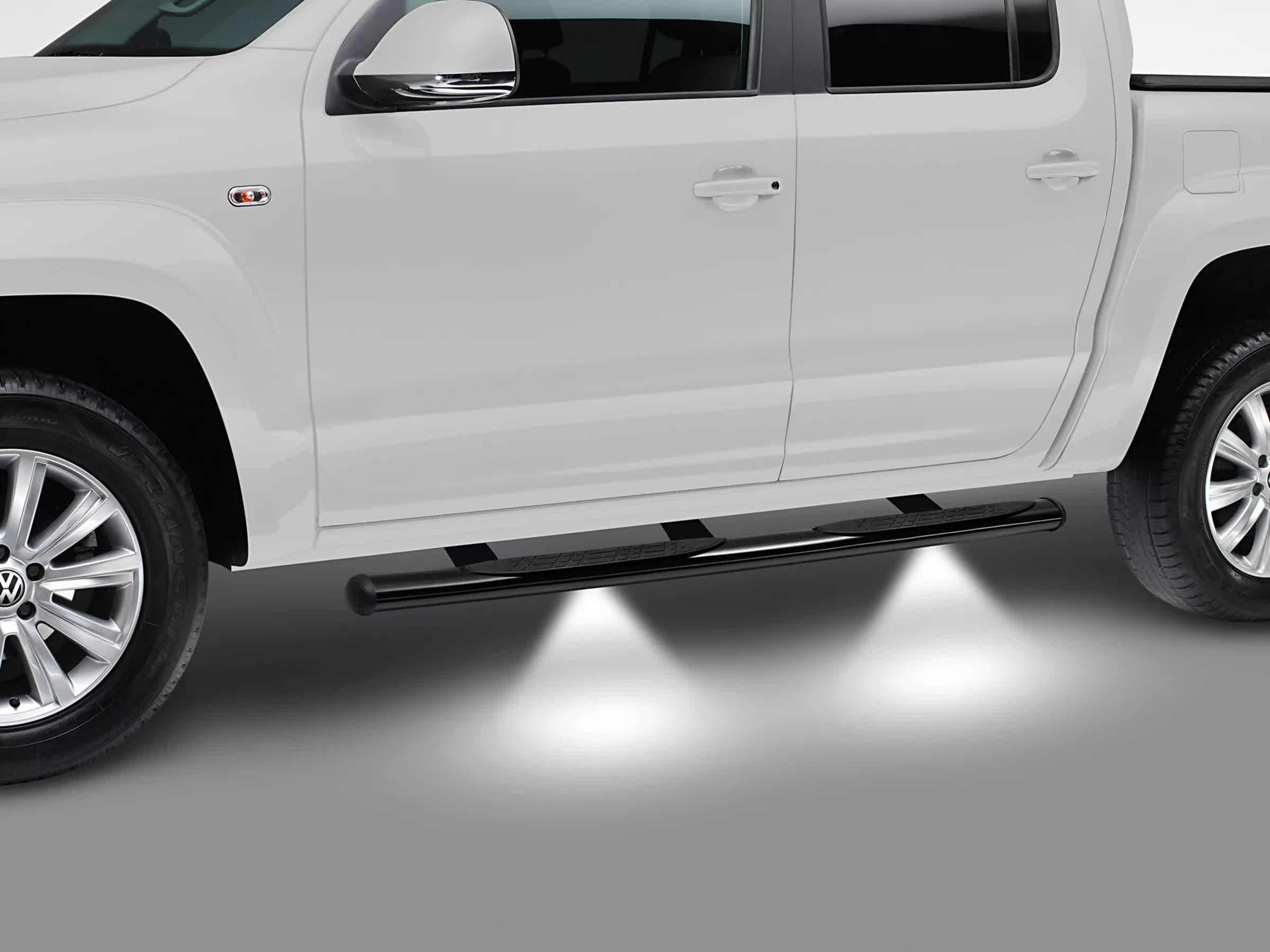 Side bar with step and LED lightning